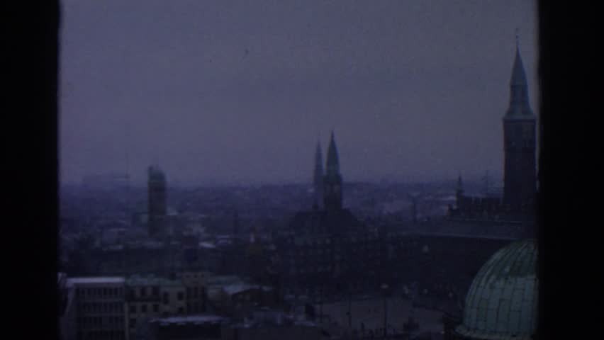 MUNICH GERMANY 1963: a city view taken from a tall building showing the city skyline