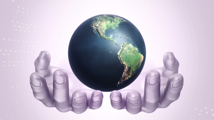 Abstract background with animation of rotation Earth Globe in abstract hands of human. Animation of seamless loop.   Shutterstock HD Video #21745864