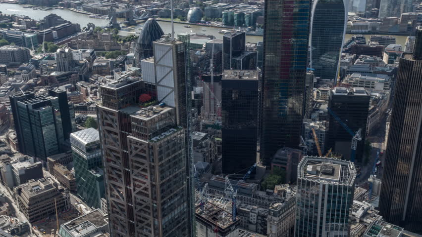 4k aerial view of the london city skyline from a helicopter