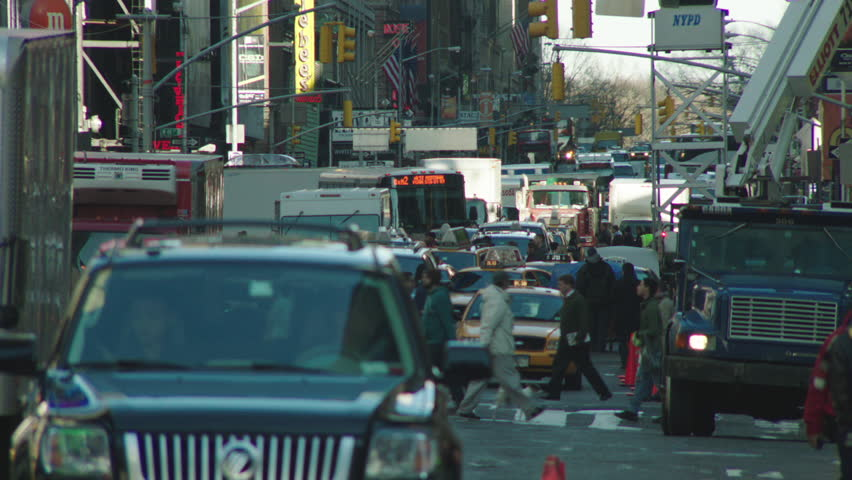 Day New York, rake, street traffic lots taxi cabs coming camera Pedestrians winter coats | Shutterstock HD Video #21771601