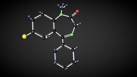 Diazepam molecule structure. Chemical structure of valium molecule. Tranquilizer.