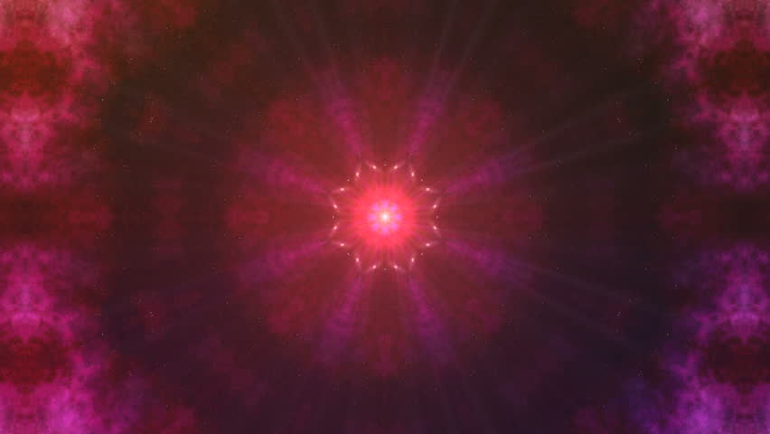 Fractal gold kaleidoscopic background. Background motion with fractal design. Disco spectrum lights concert spot bulb.