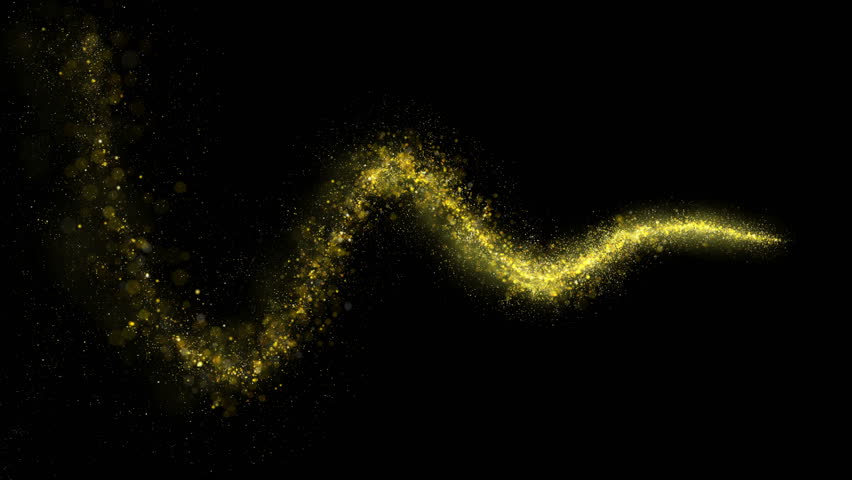 Gold glittering star dust wave of trail sparkling particles on black background. Space comet tail. Golden flying particles.