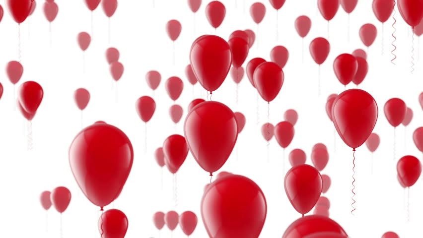 Rising red balloons on white background