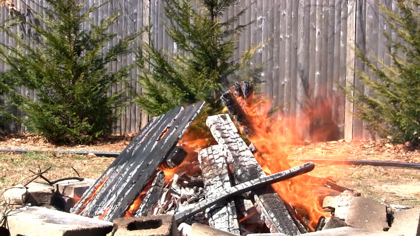 Burning excess lumber during cleanup in backyard fire pit.  Wind fuels fire against backdrop of Leyland cypress and fence