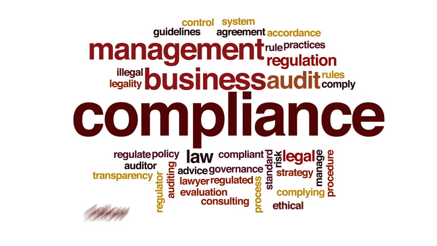 Compliance animated word cloud.