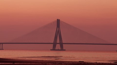 4k Time lapse footage  of Bandra Worli sea link also known as Rajiv Gandhi Sea link, after Sunset, Mumbai, India.
