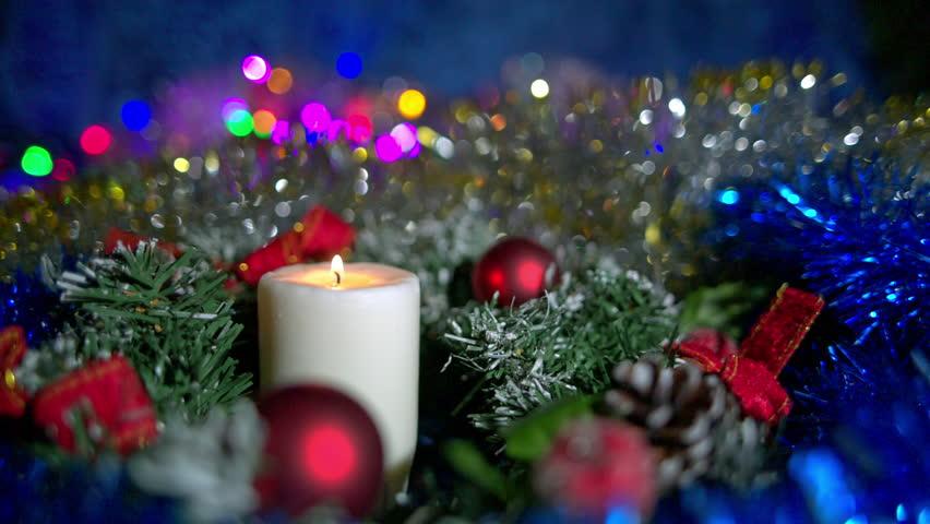 Holiday Christmas Candle Light And Flashing Lights Stock Footage