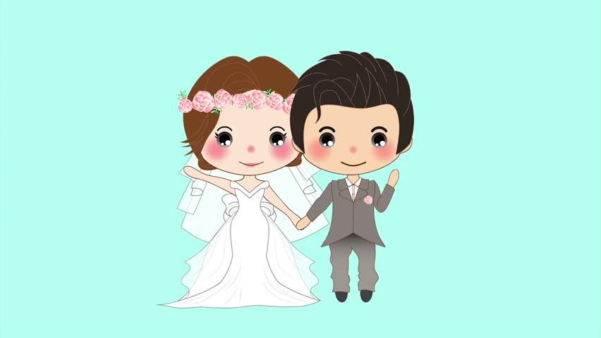 Cute Cartoon Couple, Video Animation, Hd 1080 Stock -9010