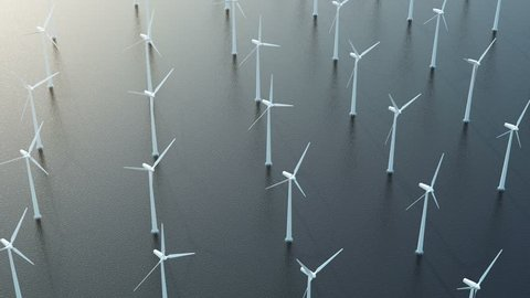 Seamless Looping Animatoin of Modern Wind Turbines in the Sea. Aerial View. 4K Ultra HD 3840x2160 Video Clip