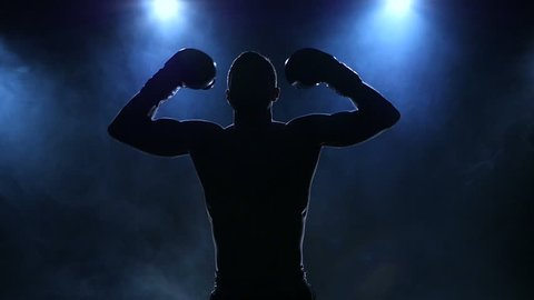 Boxer fulfills blows facing the viewer in slow motion. Silhouette