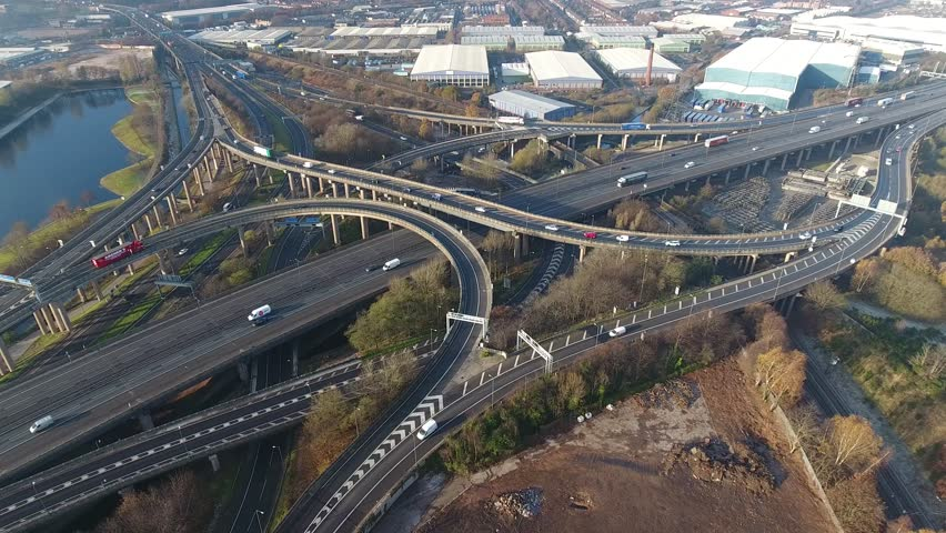 Static wide aerial view of Spaghetti Junction in Birmingham, UK.