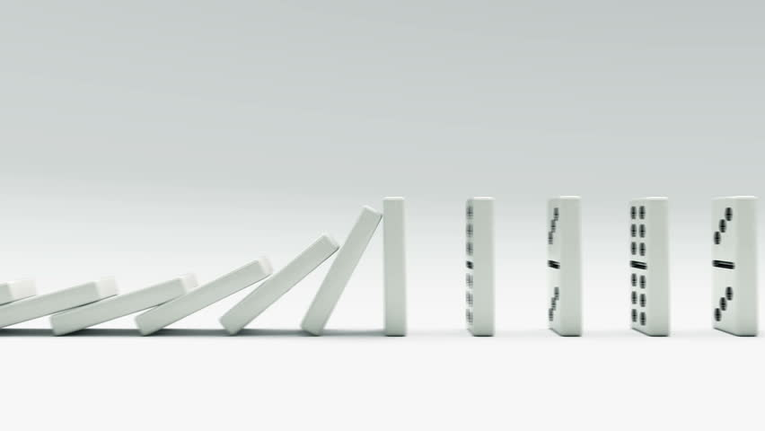 Domino chain infinity. Loop realistic 3d animation