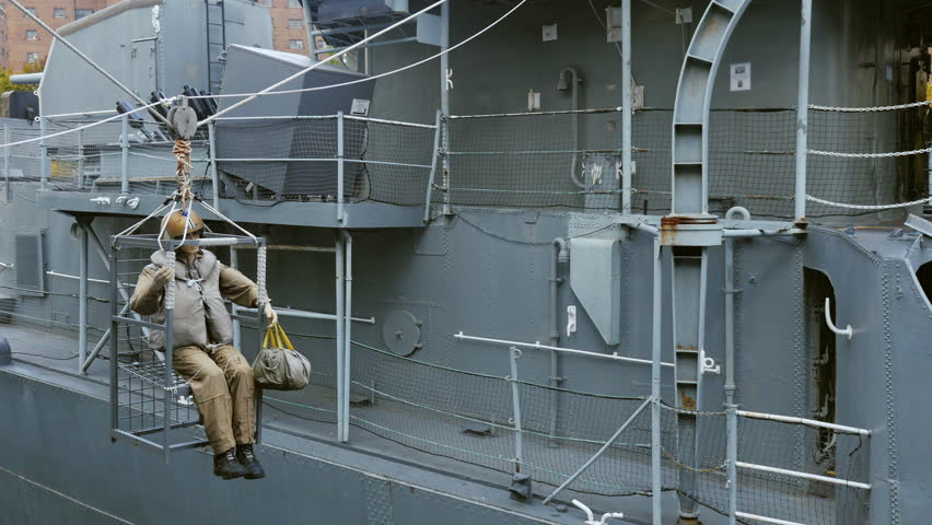 Buffalo, NY, USA - OKTOBER 20, 2016: Mannequin, shows a soldier who is transported from one ship to another. Buffalo and Erie country Naval and Military Park | Shutterstock HD Video #21924904