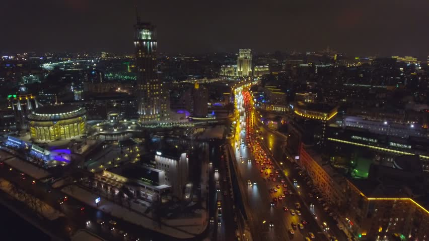 Moscow aerial Christmas New Year time night cityscape, Garden Ring, House of Music.
