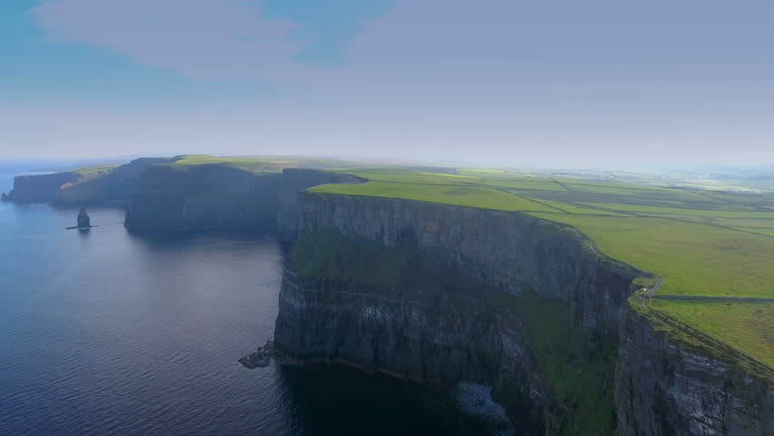 Mountain cliffs and the sea in the Cliffs of Moher found in West Ireland one of the most visited place in Ireland