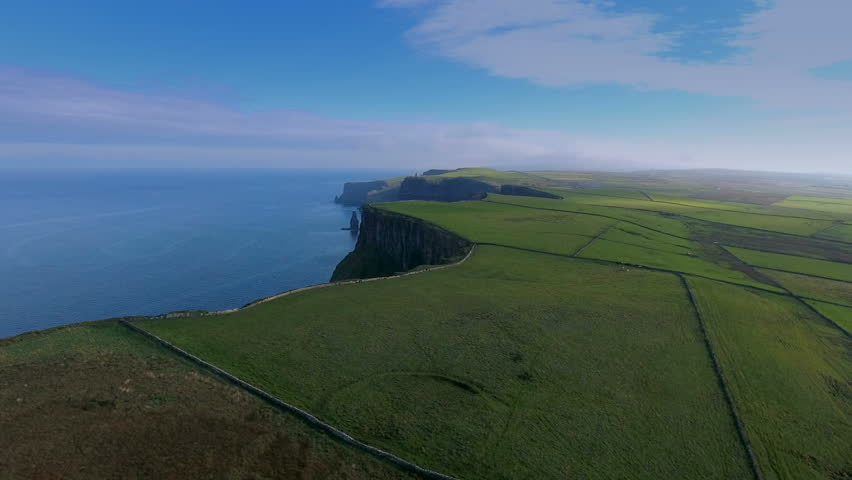 Aerial shot of the beautiful sea and the Cliffs of Moher. The Cliffs of Moher are located at the southwestern edge of the Burren region in County Clare Ireland.