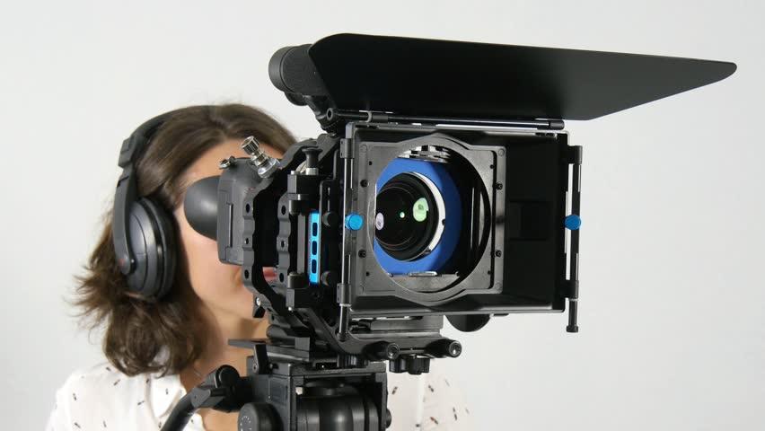 Camera Operator Working With A Cinema Broadcast TV Camera Stock ...