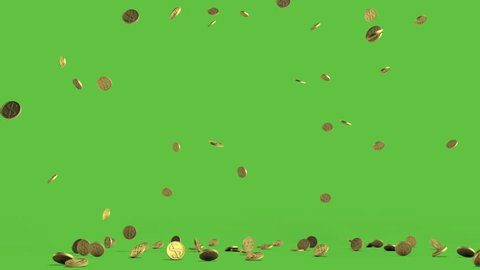 Rain from the golden coins. HQ animation against green chroma key background