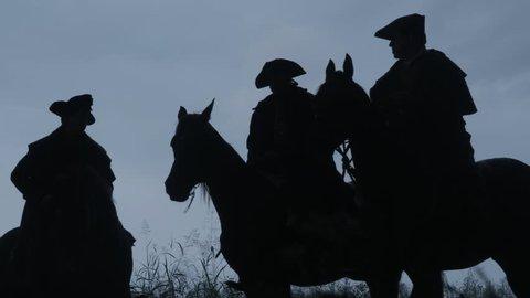 NEW ENGLAND - APRIL 2015 - Reenactment, Colonial American Revolutionary War anniversary recreation, Paul Revere Midnight Ride. British Redcoats warning, Battle Road Lexington & Concord, Massachusetts