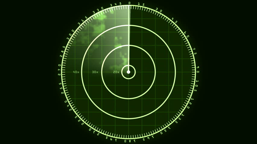 Radar Blip Screen, Digital (24fps). Loop of a radar screen displaying clouds and a bar refreshing and decaying.   Shutterstock HD Video #21999064
