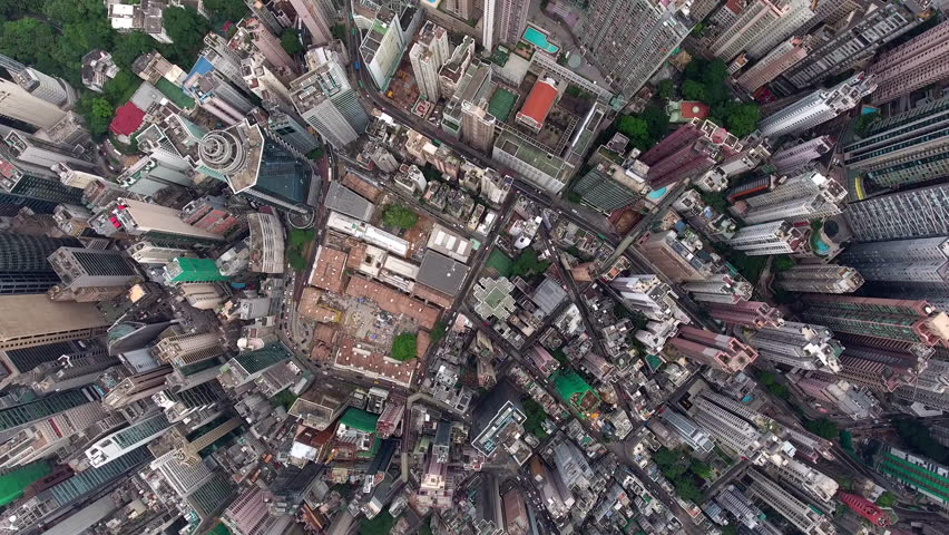 Top view aerial video of big population cityscape with developed transportation and buildings constructing as modern skyscrapers located in downtown of Asian global city,can be used for advertising #22050634