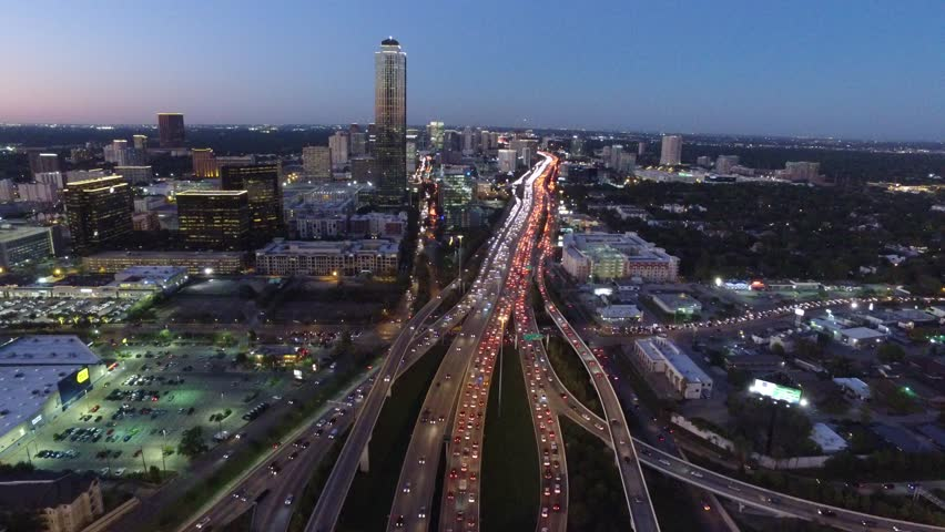 HOUSTON TEXAS TRAFFIC SPAGHETTI BOWL DAY AND NIGHT FROM DRONE