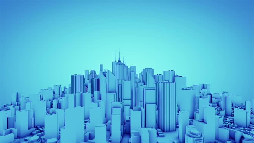 Camera rotate around abstract city. Blue tint. Seamless loop. More color options available in my portfolio. #2213854