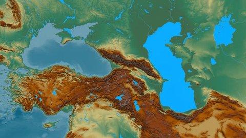 Zoom into Caucasus mountain range - masks. Relief map. High resolution ASTER GDEM data textured
