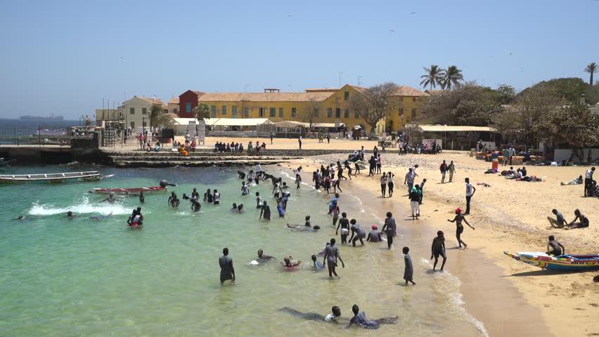 African local children in an African beach - March 2016: Gore island, Dakar, Senegal