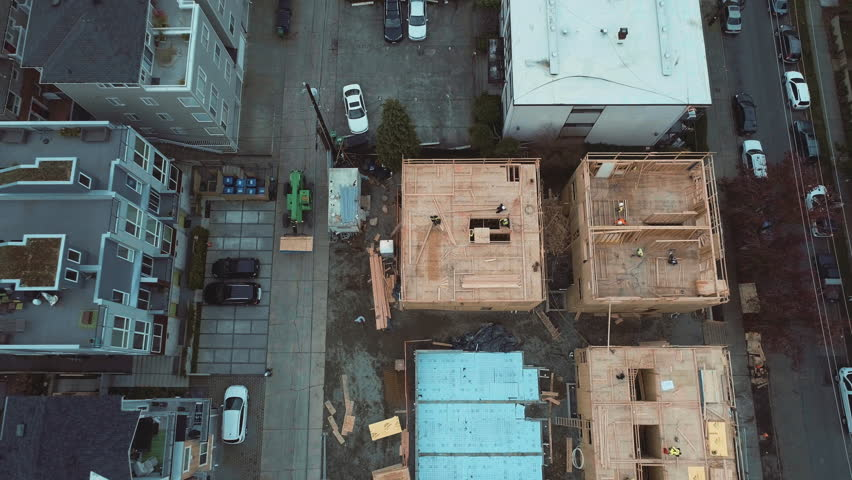 SEATTLE, WASHINGTON - DECEMBER 1, 2016: Aerial Above Construction Site in Seattle's South Lake Union District | Shutterstock HD Video #22172134