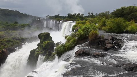 The beautiful and scenic Iguazu Falls on the border of Argentina and Brazil.