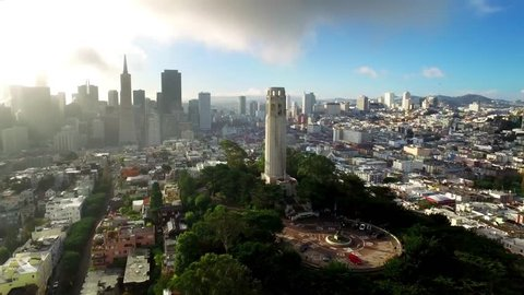 Aerial view of Coit tower and San Francisco cityscape