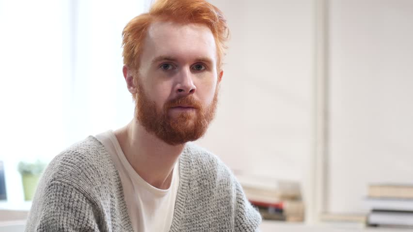 Portrait of Serious Man with Red Hairs | Shutterstock HD Video #22247104