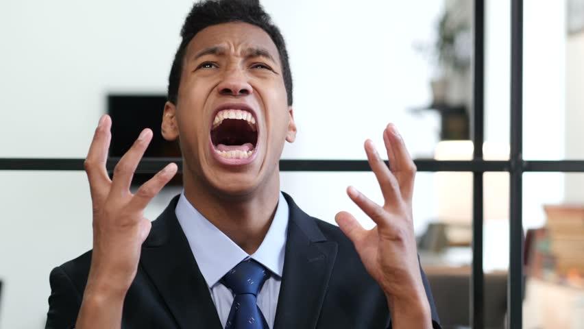 Portrait of Screaming Upset Businessman