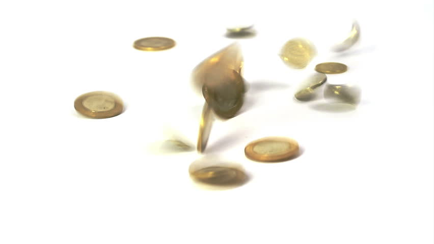 Coins falling on white background; Real time