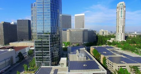 Aerial view of Century City and Solar panels, Los Angeles, California, 4K