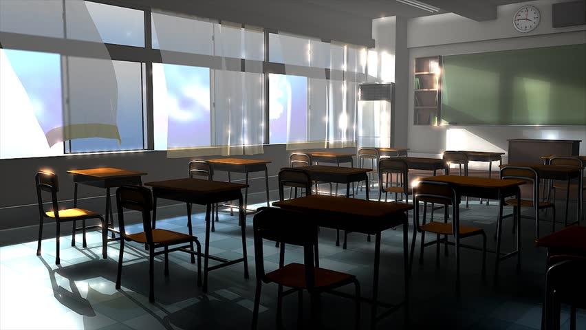 An empty classroom during summer.