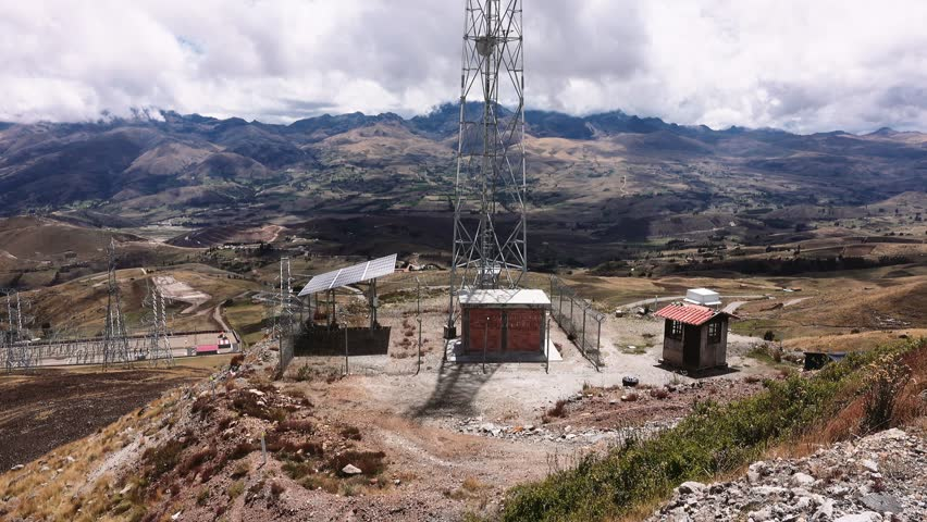 Buildings of a telecommunication antenna in the Andean mountians of Peru. 4k | Shutterstock HD Video #22344154