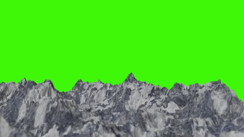 Snowy Mountain Ranges on a Green Screen Background