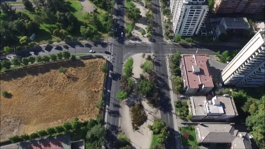 Aerial View Of City In Santiago Chile   HD Stock Footage Clip