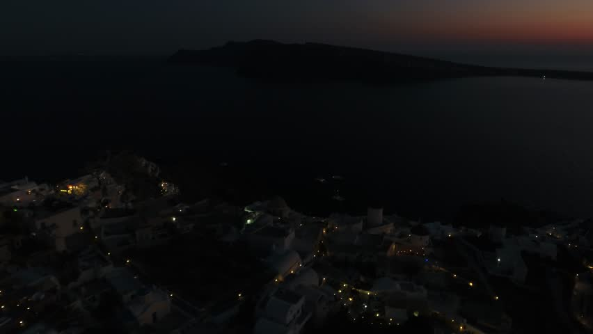 4K Drone Shot Of Santorini Island After Sunset