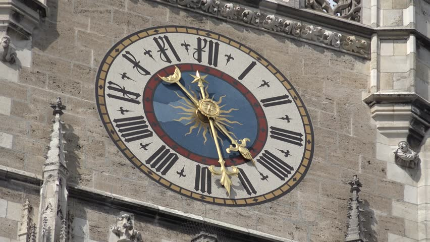 MUNICH - GERMANY, JULY 13, 2014, 4K Beautiful public clock in famous city decoration, tourism attraction