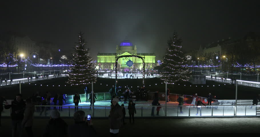 Tourists and visitors skate on ice in downtown Zagreb, during the Christmas Market, 18 December 2016 as Zagreb won first places as the best Europe's Advent destination.