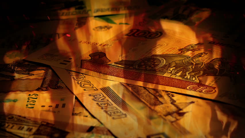 Russian Ruble Banknotes Rotating In Fire   Shutterstock HD Video #22442044