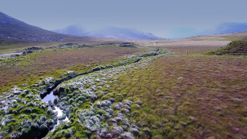 Aerial view of the Connemara National Park. Connemara National Park is one of six national parks in the Republic of Ireland that are managed by the National Parks