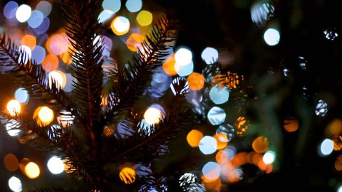 The main city Christmas tree sparkles with colorful lights. Blurred Christmas lights. Boke. Waiting for Christmas.