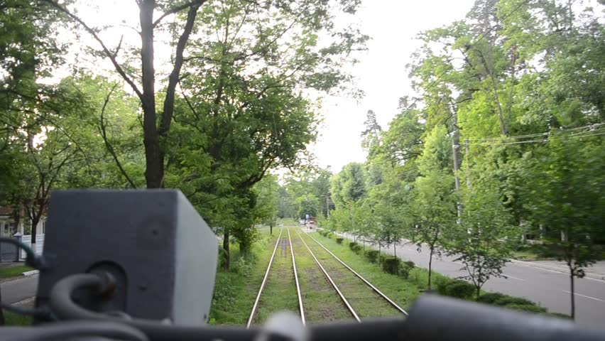 Tram moving in natural environment, view from the top. | Shutterstock HD Video #22460575