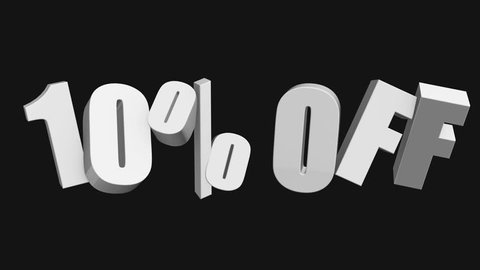 10 percent off 3d letters rotate on black background. 3d render 4K and Full HD footage. Alpha matte included.