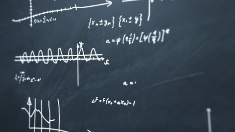 Animation of drawing algebra formulas and graphics with chalk on school blackboard